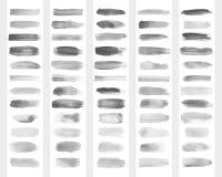 Inzameling van transparante borstelslagen voor imitatie van waterverftekening Vector illustratie Stock Afbeeldingen
