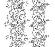 Inzameling van twee verticale zwart-wit naadloze patroon bloemengrenzen Royalty-vrije Stock Afbeeldingen