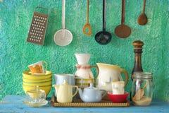 Inzameling van uitstekend keukengerei royalty-vrije stock foto