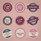Inzameling van uitstekende de dagetiketten van de Valentijnskaart \ 's stock illustratie