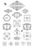 Inzameling van uitstekende etiketten, kopballen en kaders voor huwelijksuitnodiging, groetkaart, embleemmalplaatjes, monogram, me stock illustratie