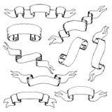 Inzameling van uitstekende hand-drawn linten royalty-vrije stock afbeeldingen