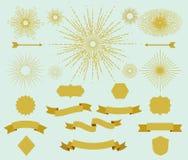 Inzameling van uitstekende hipsterkaders, zonnestralen en linten royalty-vrije illustratie