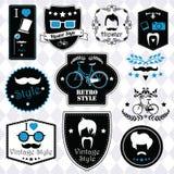 Inzameling van uitstekende hipsterkentekens, etiketten en zegels vector illustratie