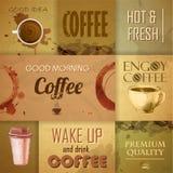 Inzameling van uitstekende Koffieelementen Stock Afbeelding
