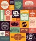 Inzameling van uitstekende retro etiketten, kentekens, zegels en linten Stock Afbeelding