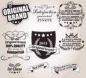 Inzameling van uitstekende retro etiketten, kentekens, zegels, linten Stock Fotografie