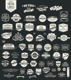 Inzameling van uitstekende retro etiketten, kentekens, zegels, linten Stock Foto's