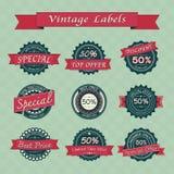 Inzameling van uitstekende retro verkoopetiketten Stock Afbeeldingen