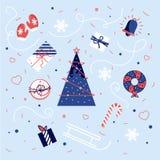 Inzameling van Uitstekende Vrolijke Kerstmis en Gelukkige Nieuwjaarornamenten stock illustratie