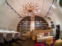 Inzameling van uitstekende wijnen van restaurant Aragvi in Moskou, Rusland Stock Afbeelding