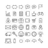Inzameling van 36 universele lineaire pictogrammen Dunne pictogrammen voor druk, Web, mobiel appsontwerp Stock Afbeelding