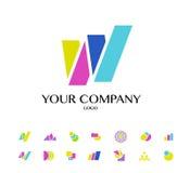 Inzameling van vector abstract vlak embleem met pijlen Royalty-vrije Stock Fotografie