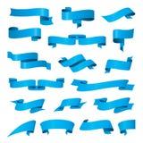 Inzameling van vector blauwe linten Stock Afbeelding