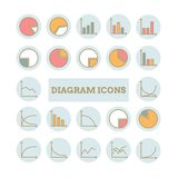 Inzameling van vector dunne lineaire diagrampictogrammen Stock Foto