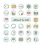 Inzameling van vector dunne lineaire Webpictogrammen: zaken, media, mededelingen Stock Afbeelding