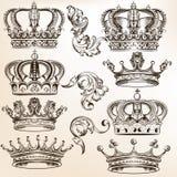 Inzameling van vector gedetailleerde kronen royalty-vrije illustratie