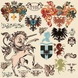 Inzameling van vector heraldische elementen in uitstekende stijl Stock Foto
