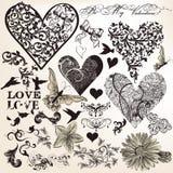 Inzameling van vector kalligrafische elementen op liefdethema in vint Stock Foto