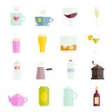 Inzameling van vector kleurrijke vlakke drankenpictogrammen voor Web en mobiele apps Stock Afbeelding