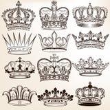 Inzameling van vector koninklijke kronen voor heraldisch ontwerp Stock Afbeelding