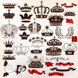 Inzameling van vector overladen kronen voor ontwerp stock illustratie