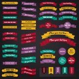 Inzameling van vector uitstekende etiketten, kentekens en linten in retro stijl Stock Afbeelding