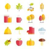 Inzameling van vector vlakke de herfstpictogrammen Stock Afbeelding