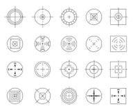 Inzameling van vector vlakke eenvoudige die doelstellingen op witte achtergrond worden geïsoleerd Verschillende crosshairpictogra Royalty-vrije Stock Foto