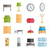 Inzameling van vector vlakke meubilairpictogrammen Royalty-vrije Stock Afbeeldingen