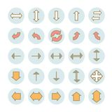 Inzameling van vector vlakke pijlen lineaire pictogrammen Stock Fotografie