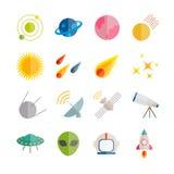 Inzameling van vector vlakke ruimtepictogrammen Kleurrijke vlakke pictogrammen voor Web, druk, mobiele apps Stock Fotografie