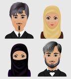 Inzameling van vectoravatars Moslimmannen en vrouwen Gezichten van Arabier Royalty-vrije Stock Afbeelding