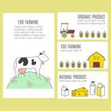 Inzameling van vectorbanners met landbouw en ecoproducten Stock Afbeelding