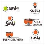 Inzameling van vectoremblemen van sushi Embleemontwerp voor restaurants van Japans voedsel Royalty-vrije Stock Foto