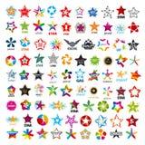 Inzameling van vectoremblemen vijf-gerichte sterren Stock Foto