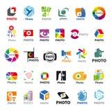 Inzameling van vectoremblemen voor de fotograaf Stock Afbeeldingen