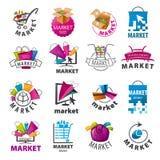 Inzameling van vectoremblemen voor markt Stock Foto's