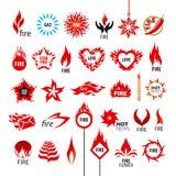 Inzameling van vectoremblemenbrand en vlammen Stock Afbeeldingen