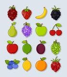 Inzameling van vectorfruitstickers stock illustratie