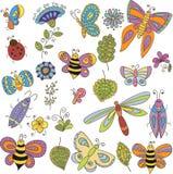 Inzameling van vectorinsecten, vlinder, bladeren en bloemen Stock Foto
