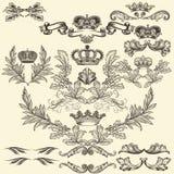 Inzameling van vectorkaders met kronen en wapenschild vector illustratie