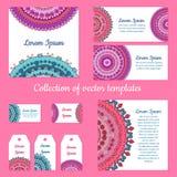 Inzameling van vectormalplaatjes: etiketten, kaarten, vliegers Stock Fotografie