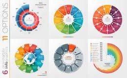 Inzameling van 6 vectormalplaatjes van de cirkelgrafiek 11 opties Royalty-vrije Stock Fotografie