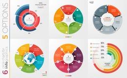 Inzameling van 6 vectormalplaatjes van de cirkelgrafiek voor infographics w Royalty-vrije Stock Afbeeldingen