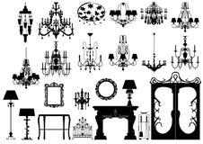 Inzameling van vectormeubilairsilhouetten Royalty-vrije Stock Afbeelding