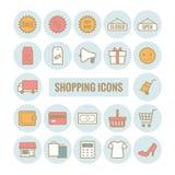 Inzameling van vectoroverzicht het winkelen pictogrammen Royalty-vrije Stock Foto's