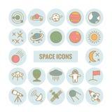 Inzameling van vectoroverzichts ruimtepictogrammen Stock Afbeeldingen