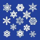 Inzameling van vectorsneeuwvlokken, blauwe sneeuwvlokken, blauwe sneeuwvlok Stock Foto