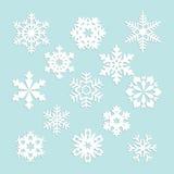 Inzameling van vectorsneeuwvlokken, blauwe sneeuwvlokken, blauwe sneeuwvlok Stock Afbeeldingen
